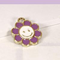 Dije esmaltado flor lila en base dorado, 14 mm, por unidad