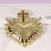 Colgante baño de oro y zircones, corazón, 26 mm de largo x 21 mm, de ancho, por unidad