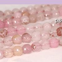 agatas, Agata en tonos rosa claro, en 6 mm, tira de 62 piedras aprox