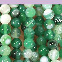 Agatas, Agata lisa de 6 mm, en color verde, tira de 63 piedras aprox
