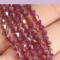 Cristal tupi 4 mm, color rojo oscurol tornasol, tira de 78 cristales aprox