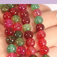 Agatas, Agata lisa de 8 mm, en multicolor, tira de 48 piedras aprox