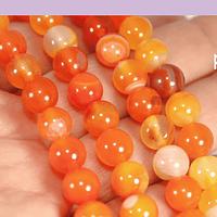 Agatas, Agata lisa de 8 mm, en tonos naranjas, tira de 48 piedras aprox
