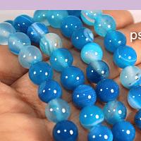 Agatas, Agata lisa de 8 mm, en tonos azules, tira de 48 piedras aprox