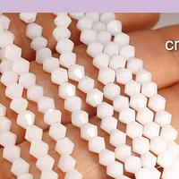 Cristal tupi 4 mm, color blanco, tira de 78 cristales aprox