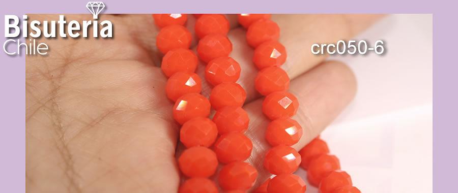 Cristal facetado de 8 mm, en color naranjo tira de 68 cristales aprox.