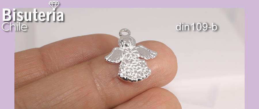 Dije ángel baño de plata, 20 mm de largo x 16 mm de ancho, por unidad
