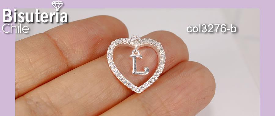 Colgante zirconia con baño de plata, Corazón