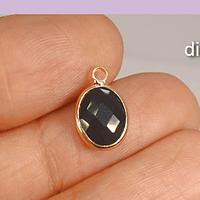 Dije o colgante cristal facetado negro con borde baño de oro, 13 x 8 mm, 2 mm de ancho, por unidad