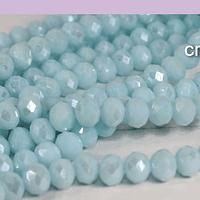 Cristal facetado en tonos celeste perlado de 6 mm, tira de 90 cristales aprox