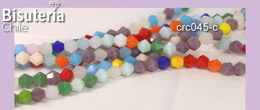 Cristal tupi 4 mm, multicolor, tira de 100 cristales aprox