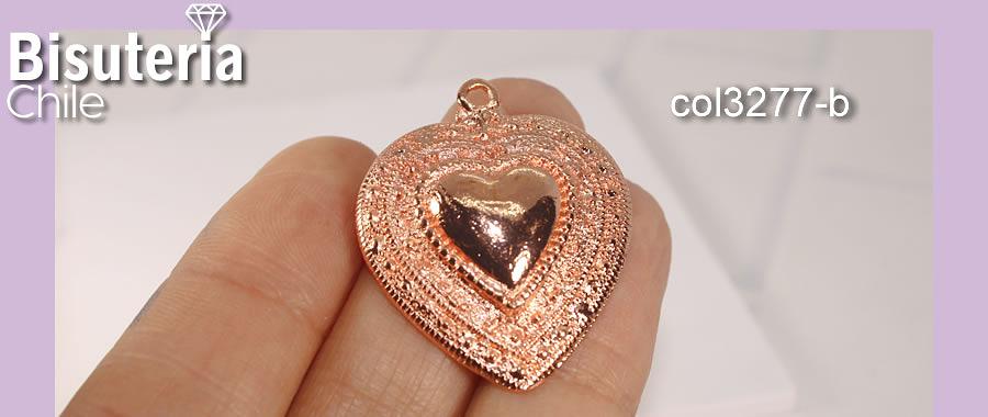 Colgante corazón, baño de cobre, 35 x 30 mm, por unidad