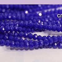 Cristal facetado azul 2 x 2 mm, tira de 190 cristales aprox (la medida de los cristales varía en 0.3 mm aprox)
