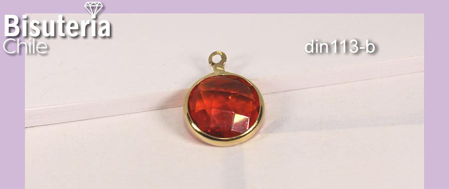 Dije baño de oro con cristal rojo, 12 mm de diámetro, por unidad