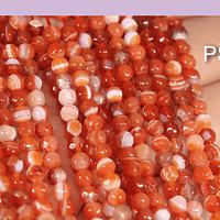 agatas en color naranjo jaspeado en 4 mm, tira de 90 piedras aprox