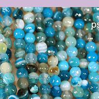 agatas, Agata en tonos azules, en 6 mm, tira de 62 piedras aprox