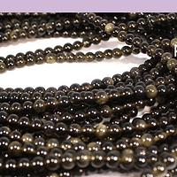 Obsidiana negra de 4 mm, tira de 95 piedras aprox.