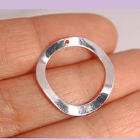 Circulo irregular baño de plata, con agujero superior, 23 mm, 3 mm de grosor, por unidad