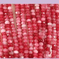 Agatas, Agata rondell rosa matizado de 4 mm, tira de 115 piedras aprox