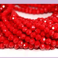Cristal facetado en tonos rojo de 6 mm, tira de 90 cristales aprox