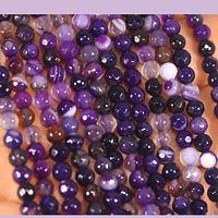 agatas en color morado jaspeado en 4 mm, tira de 90 piedras aprox