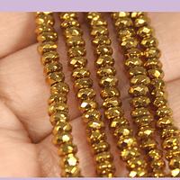 Hematite rondell facetada dorada de 4 mm, tira de 185 piedras aprox.