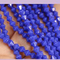 Cristal tupi 4 mm, color azul, tira de 105 cristales aprox