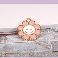 Dije esmaltado flor rosa pálido en base dorado, 14 mm, por unidad