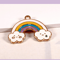 Dije esmaltado arcoiris, 23 x 16 mm, por unidad