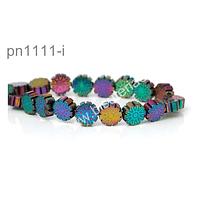 Hematite multicolor en forma de flor, 8 mm de diámetro, 3 mm de ancho, set de 28 unidades