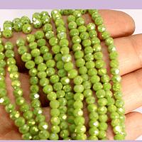 Cristal verde limón 4 mm, tira de 125 cristales aprox