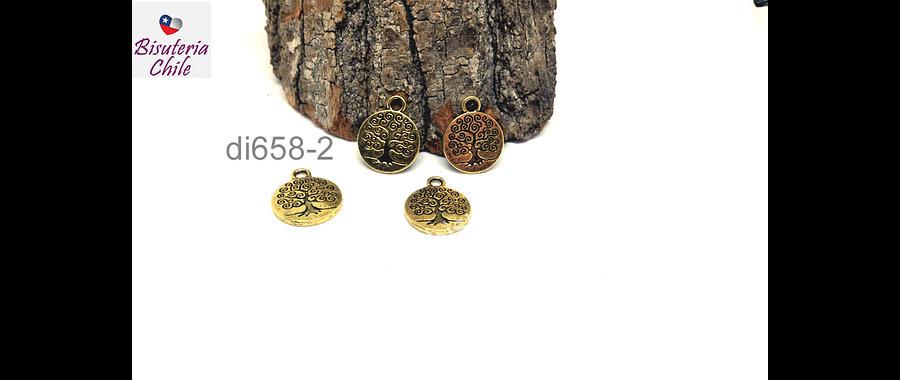 Dije dorado árbol de la vida, 15 mm de diámetro, set de 4 unidades