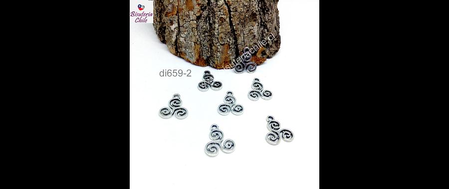 Dije plateado en forma de trisquel, símbolo celta, 15 mm, set de 7 unidades