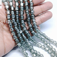 Perla de vidrio hindú gris, de 8 mm, tira de 35 unidades aprox.
