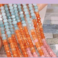 Agatas, Agata rondell multicolor de 4 mm, tira de 115 piedras aprox