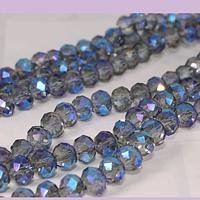 Cristal facetado en tono gris con brillos tornasol azules de 6 mm, tira de 90 cristales aprox