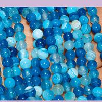 Agatas, Agata lisa de 6 mm, en tonos azules y celestes, tira de 63 piedras aprox