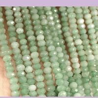 Agatas, Agata rondell verde de 4 mm, tira de 115 piedras aprox