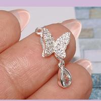 Dije zirconia, con baño de plata, en forma de mariposa y gota, 10 x 9 mm, por unidad