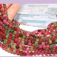 Agatas, Agata lisa de 4 mm, en tonos multicolor, tira de 90 piedras aprox