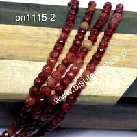 Agata 4 mm, en  tonos rojos y naranjos de 4 mm, tira de 90 piedras aprox.