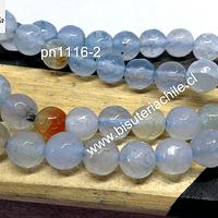 Agata en tono celeste claro y naranjo, tira de 48 piedras aprox