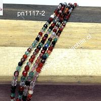 Agata 2 mm , en tonos tierra, tira de de 175 piedras