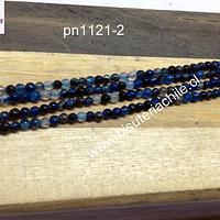Agata 2 mm , en tonos azules, tira de de 175 piedras
