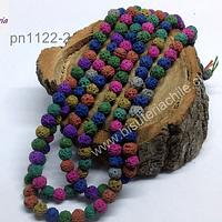 Piedra volcanica multicolor colores cálidos, 6 mm, tira de 63 piedras aprox