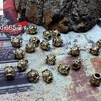 Separador dorado con diseño flor, 6 x 6 mm, agujero de 2 mm, set de 20 unidades