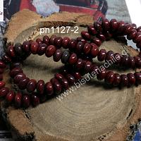 Jaspe rojo rondell, 7 x 3 mm, tira de 48 piedras