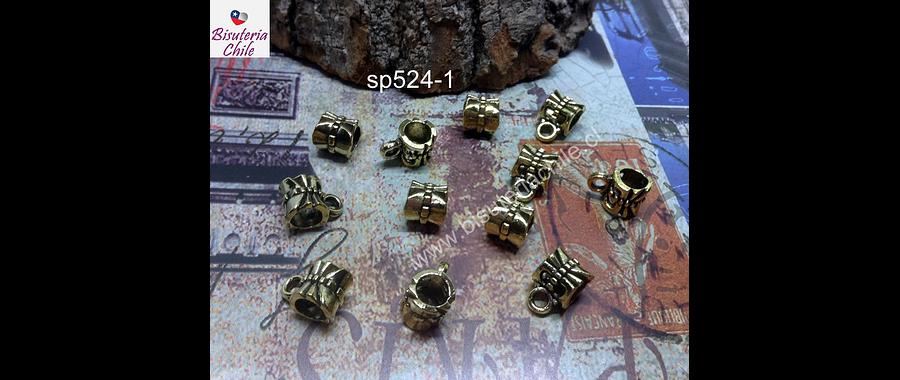 Separador dorado con argolla para dije, 6 x 7 mm, agujero de 5 mm, set de 7 unidades