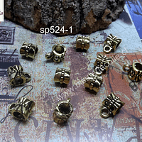 Separador dorado con argolla para dije, 6 x 7 mm, agujero de 5 mm, set de 12 unidades