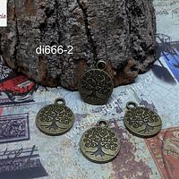 Dije envejecido árbol de la vida, 15 mm de diámetro, set de 4 unidades